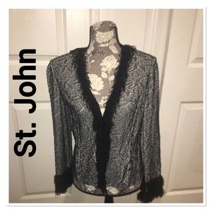 St. John Collection Elegant Black & White Cardigan